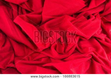 Red Wrinkled Fabric Background