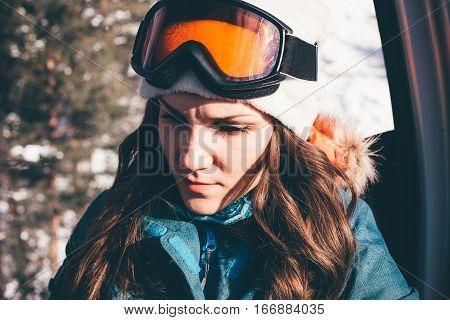 Happy Girl On Ski Resort.