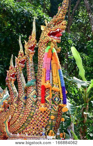 Naga on gates of the temple of Wat Phra That Doi Suthep in Thailand