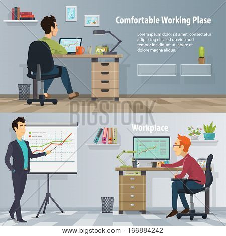 Business workplace horizontal banners with working busy people in modern comfortable office vector illustration