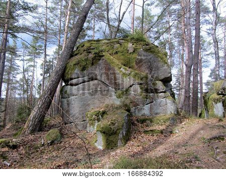 Stonehenge like stone structure in a bavarian forrest