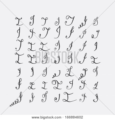 Vector set of calligraphic letters I handwritten with pointed nib decorated with flourishes and decorative elements. Isolated on grey black imperfect letters sequence. Various shapes collection