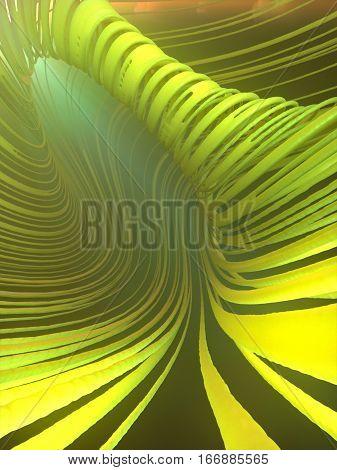 Abstract art green streaks effect background. 3d rendering