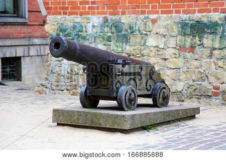 old cannon at fortress wall Riga Latvia