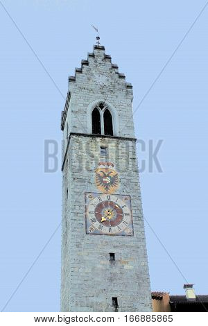 tower with clock in Sterzing in northern Italy