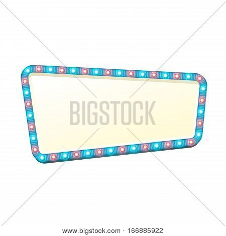 Blank 3d retro light banner with shining bulbs. Blue sign with blue and red lights and blank space for text. Vintage street signboard. Advertising frame with glow. Colorful vector illustration