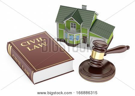 Civil law concept house with gavel and book. 3D rendering isolated on white background