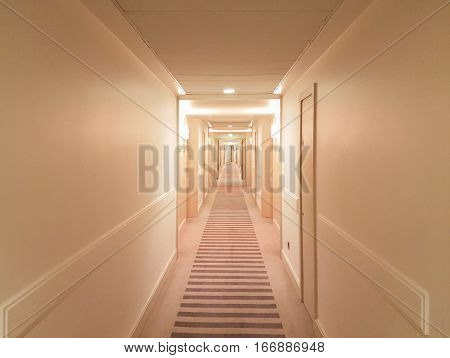 Hallway Typical For Hotels And Hostels