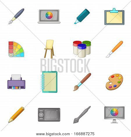 Drawing and painting tools icons set. Cartoon illustration of 16 drawing and painting tool vector icons for web