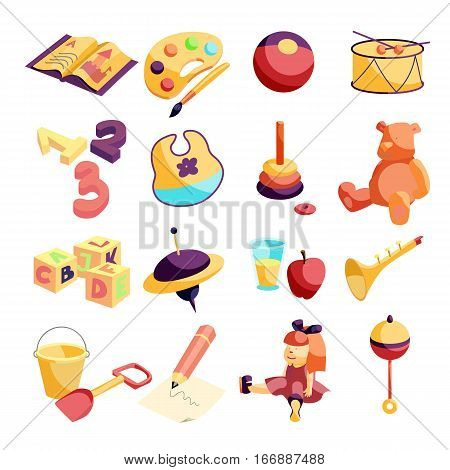 Kindergarten items icons set. Cartoon illustration of 16 kindergarten items vector icons for web
