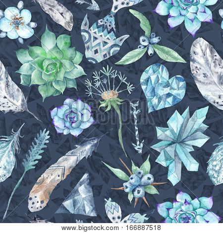 Seamless tribal texture with succulents, feathers, crystals and plants on blue background