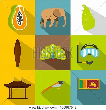 Holiday in Sri Lanka icons set. Flat illustration of 9 holiday in Sri Lanka vector icons for web