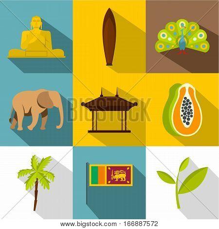 Attractions of Sri Lanka icons set. Flat illustration of 9 attractions of Sri Lanka vector icons for web