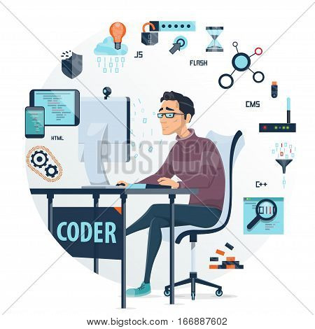 Coding round composition with devices web elements programming languages and working programmer in centre isolated vector illustration