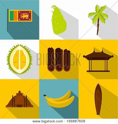 Tourism in Sri Lanka icons set. Flat illustration of 9 tourism in Sri Lanka vector icons for web