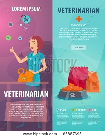 Vet clinic vertical banners with pet doctor stroking cat and animal food vector illustration