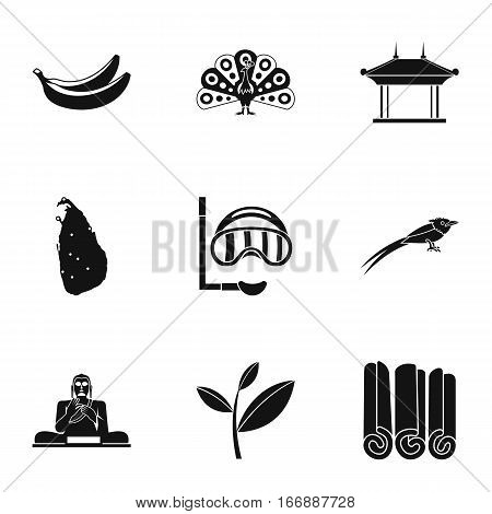 Attractions of Sri Lanka icons set. Simple illustration of 9 attractions of Sri Lanka vector icons for web