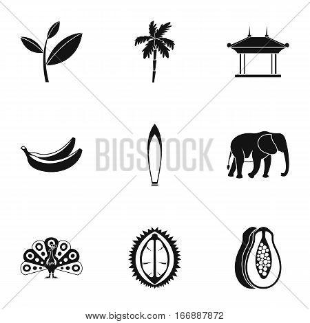 Tourism in Sri Lanka icons set. Simple illustration of 9 tourism in Sri Lanka vector icons for web