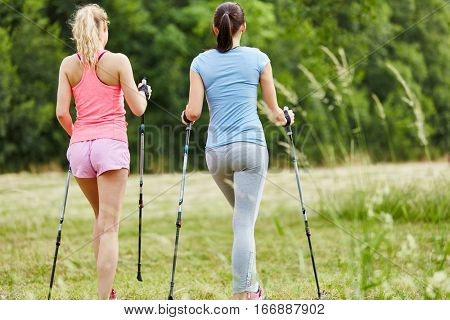 Two young women nordic walking together in the nature