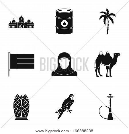 UAE country icons set. Simple illustration of 9 UAE country vector icons for web