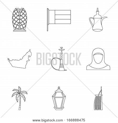 Tourism in UAE icons set. Outline illustration of 9 tourism in UAE vector icons for web