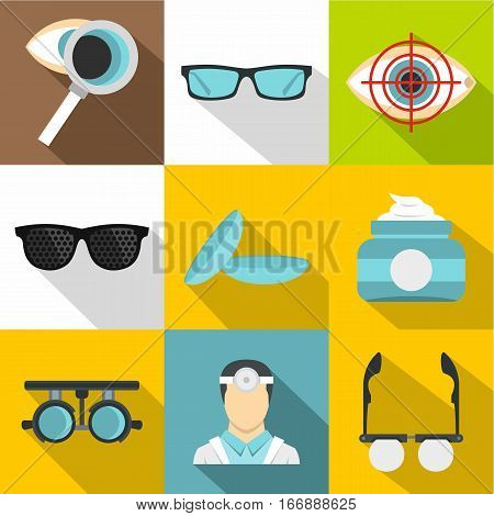 Eye exam icons set. Flat illustration of 9 eye exam vector icons for web