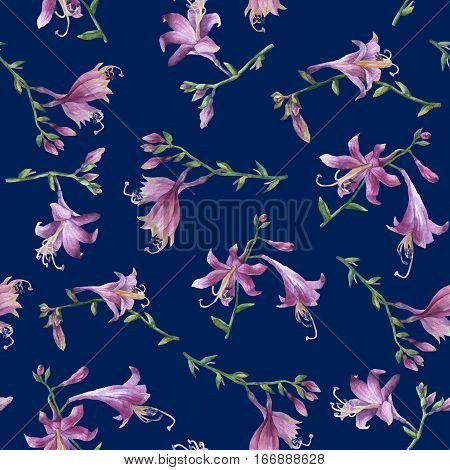 Seamless pattern with branches purple hosta flower. Lilies. Hosta ventricosa minor, asparagaceae family. Hand drawn watercolor painting on dark blue background.
