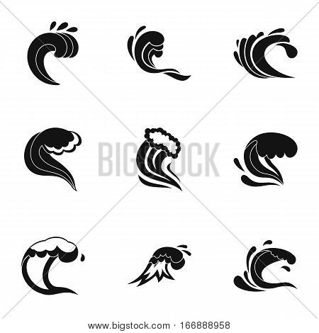 Wave icons set. Simple illustration of 9 wave vector icons for web
