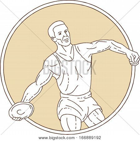 Mono line style illustration of a track and field discus thrower athlete throwing viewed from front set inside circle on isolated background.