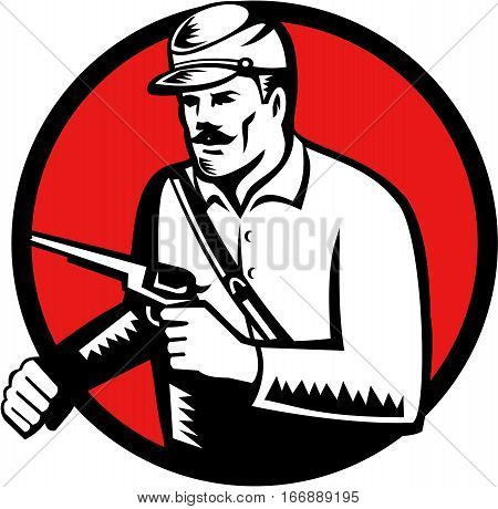 Illustration of an american civil war union soldier holding pistol set on inside circle on isolated background done in retro woodcut style.