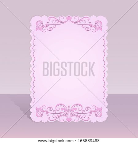 Figured pink card with floral ornament illustration.