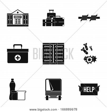 Refugees icons set. Simple illustration of 9 refugees vector icons for web