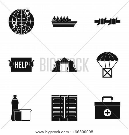 People fugitives icons set. Simple illustration of 9 people fugitives vector icons for web