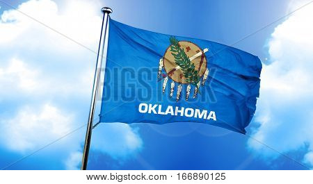 oklahoma flag, 3D rendering, on a cloud background
