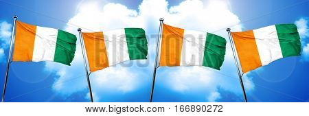 Ivory coast flag, 3D rendering, on cloud background