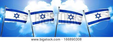 Israel flag, 3D rendering, on cloud background