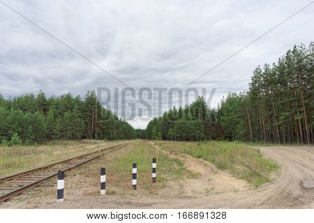 Crossing the old railway line and the dirt road in the forest. Russia.