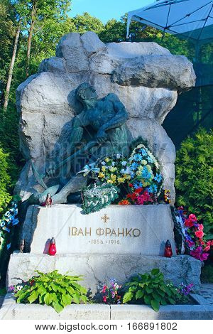 Lviv - circa August 2013 / Ukraine:grave of famous Ukrainian writer poet writer scientist publicist Ivan Franko on Lychakiv Cemetery in Lviv. circa August 2013 in Lviv, Ukraine.