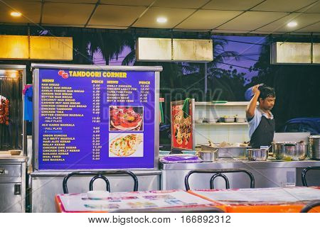 Langkawi, Malaysia - February 16, 2016: Outdoor Tomato Nasi Kandar restaurant with popular dishes from Indian cuisine located on the main road to the Pantai Tengah beach in Langkawi, Malaysia