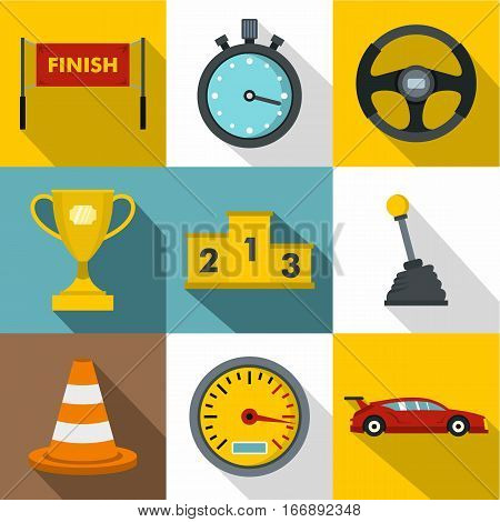 Speed race icons set. Flat illustration of 9 speed race vector icons for web