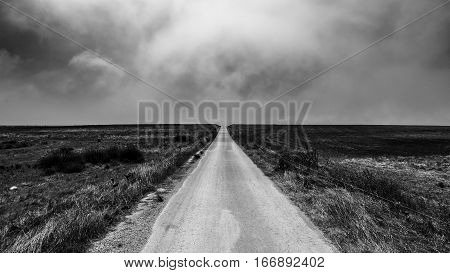 A road leading to the horizon in Portugal in black and white