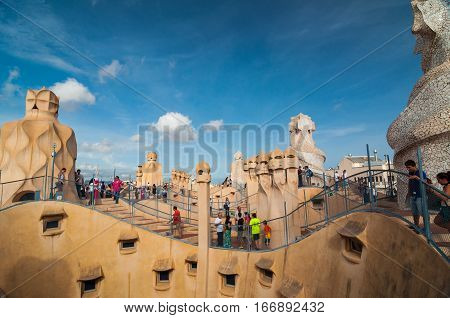 Exterior Of The Casa Mila -la Pedrera By Antonio Gaudi.
