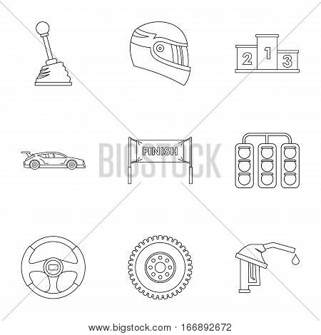 Race cars icons set. Outline illustration of 9 race cars vector icons for web