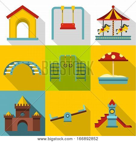 Children entertainment icons set. Flat illustration of 9 children entertainment vector icons for web