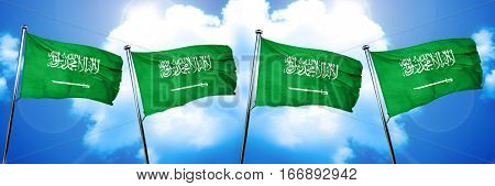 Saudi Arabia flag, 3D rendering, on cloud background