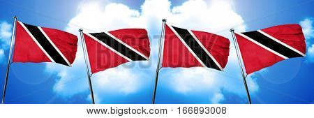 Trinidad and tobago flag, 3D rendering, on cloud background
