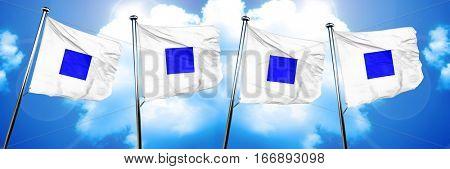 Sierra maritime signal flag, 3D rendering