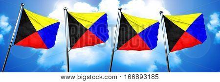 Zulu maritime signal flag, 3D rendering