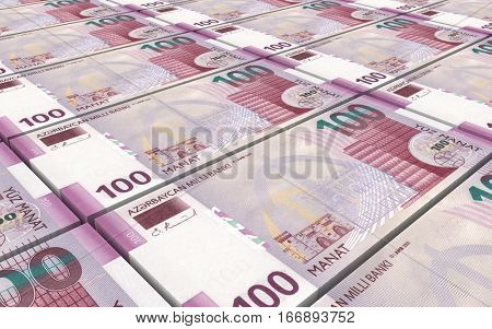 Azerbaijan manat bills stacked background. 3D illustration.
