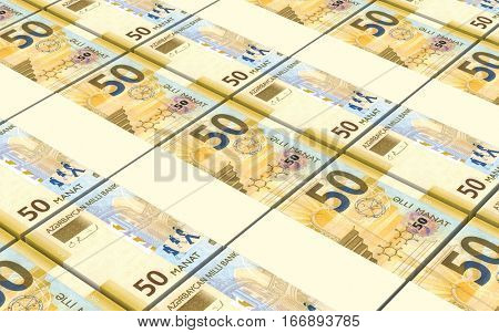 Azerbaijan manat bills stacked background. 3D illustration.